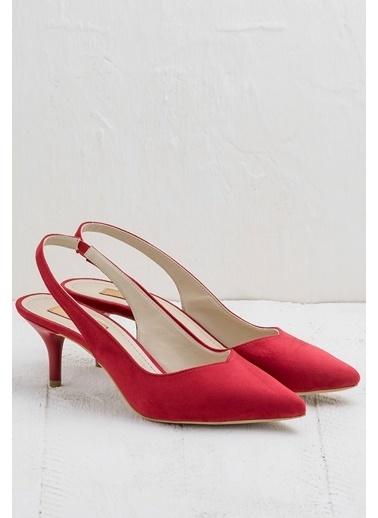 Elle İnce Topuklu Sivri Burun Ayakkabı Kırmızı